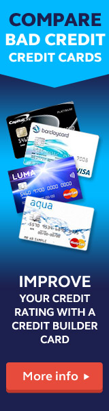 Compare bad credit credit cards and improve your credit rating with a credit builder card